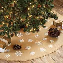 Snowflake Burlap Natural Mini Tree Skirt 21