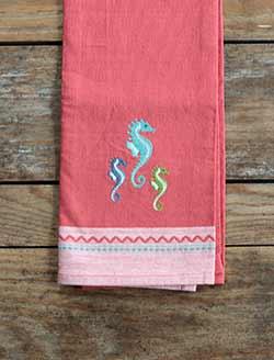 Seahorse Embroidered Dishtowel