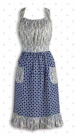 Blue and White Mixed Print Vintage Apron