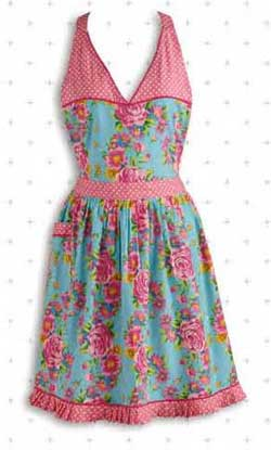 Blue Floral and Pink Polka Dot Vintage Apron