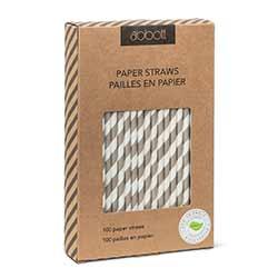 Grey Striped Paper Straws (Box of 100)