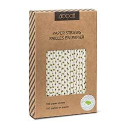 Gold Polka Dot Paper Straws (Box of 100)