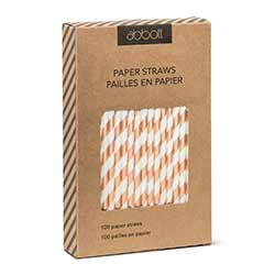 Rose Gold and White Striped Paper Straws (Box of 100)