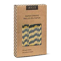 Gold and Black Striped Paper Straws (Box of 100)