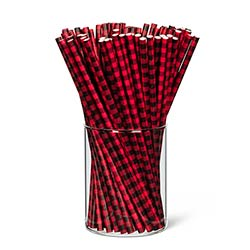 Black & Red Buffalo Check Paper Straws (Set of 25)