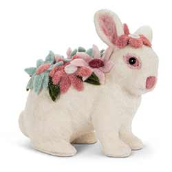Felt Floral Rabbit Figurine