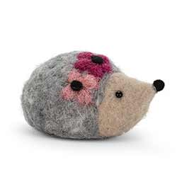 Felt Hedgehog with Flower Figurine