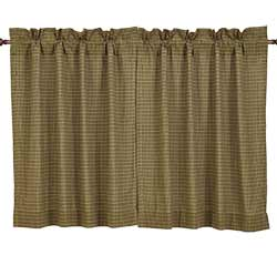 Tea Cabin Green Plaid Cafe Curtain - 36 inch