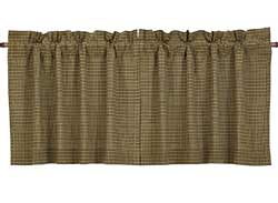 Tea Cabin Green Plaid Cafe Curtains - 24 inch Tiers