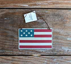 American Flag Tin Ornament