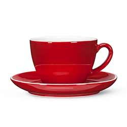 Red Diner Latte Cups and Saucers (Set of 12)