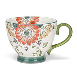 Chintz Orange Floral Mugs (Set of 4)