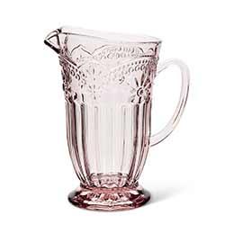 Pink Flower Glass Pitcher