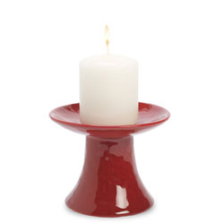 Red Stoneware Pillar Candle Holder - Small