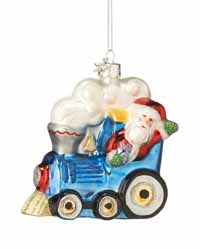 Santa in Train Ornament