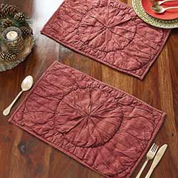 Anders Rouched Red Placemats (Set of 6)