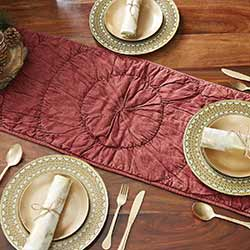 Anders Rouched Red 36 inch Table Runner