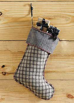 Weston Grey Plaid & Herringbone Reversible Christmas Stocking
