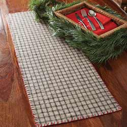 Weston Grey Plaid Felt 90 inch Table Runner