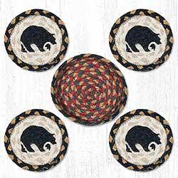 Black Bear Braided Coaster Set