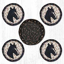 Horse Portrait Braided Coaster Set