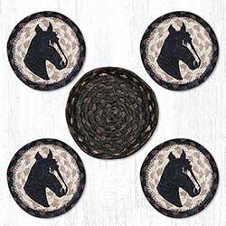 Horse Portrait Braided Coaster Set