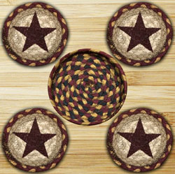 Burgundy Star Braided Jute Coaster Set