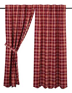 VHC Brands Braxton Red Plaid 63 inch Panels