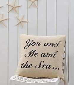 You and Me and the Sea Decorative Pillow (with Down Fill)