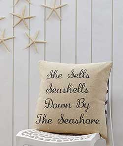 She Sells Seashells Decorative Pillow (with Down Fill)