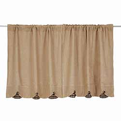 Burlap with Black Check 36 inch Scalloped Tiers