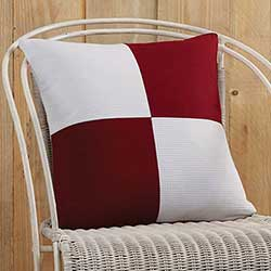 Red and White Patchwork Decorative Pillow