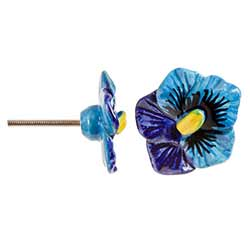 Blue Pansy Knobs (Set of 3)