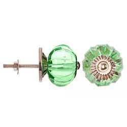 Green Glass Melon Flower Knobs (Set of 3)