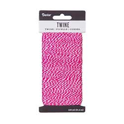 Baking Twine, 100 yards - Fuchsia & White