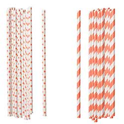 Coral Paper Straws (Set of 100)