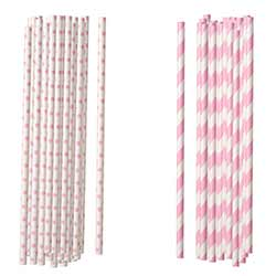 Pink Paper Straws (Set of 100)