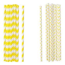 Yellow Paper Straws (Set of 100)