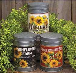 Sunflower Tin Canisters (Set of 3)