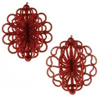 Glittered Ornament - Red