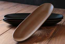 Primitive Wooden Oval Tray - Mustard