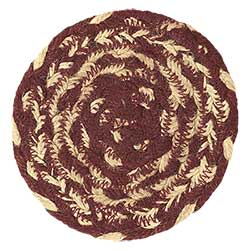 Burgundy and Tan Braided Coasters (Set of 6)
