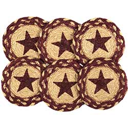 Burgundy Star Braided Coasters (Set of 6)