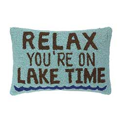 Relax Lake Time Hooked Throw Pillow