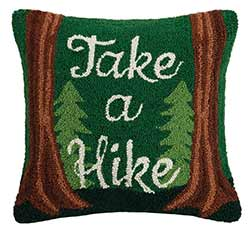 Take A Hike Hooked Throw Pillow