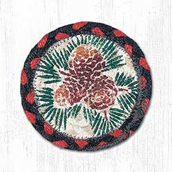 Pine Cone Braided Coaster (Red, Black)