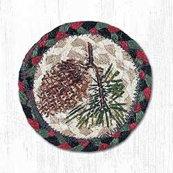 Pine Cone Braided Coaster (Burgundy, Black, Sage Green)