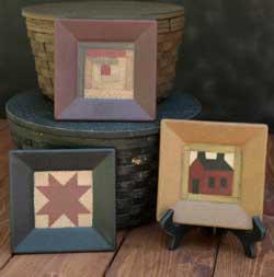 Log Cabin Quilt Plates (Set of 3)