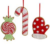 RAZ Candy Cane, Peppermint, or Mitten Ornament