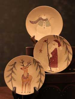 Santa, Snowman, & Reindeer Plates (Set of 3)